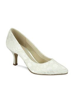 Cameo pointed lace court shoes
