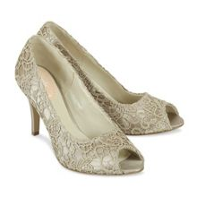 Paradox London Pink Cosmos lace peep toe shoes