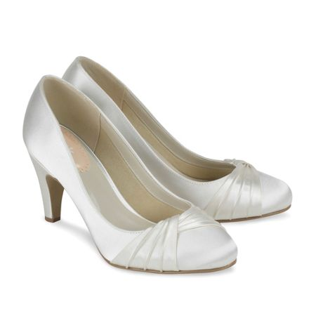 Paradox London Pink Ruffle Pleated Round Toe Shoes