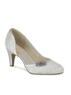 Lace covered round toe shoes