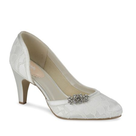 Paradox London Pink Lace covered round toe shoes