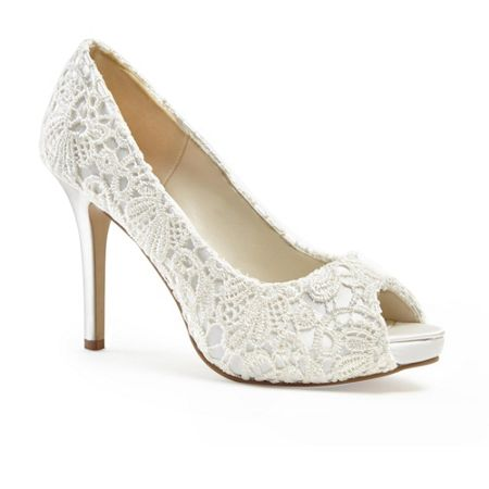 Paradox London Pink Peep toe Lace `Obsession` platform shoes