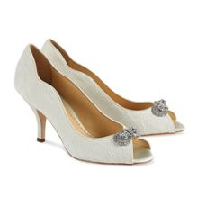 Lace covered Dakota peep toe shoes