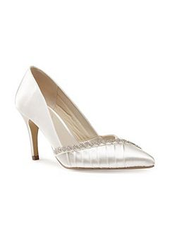 Union diamante pleated court shoes