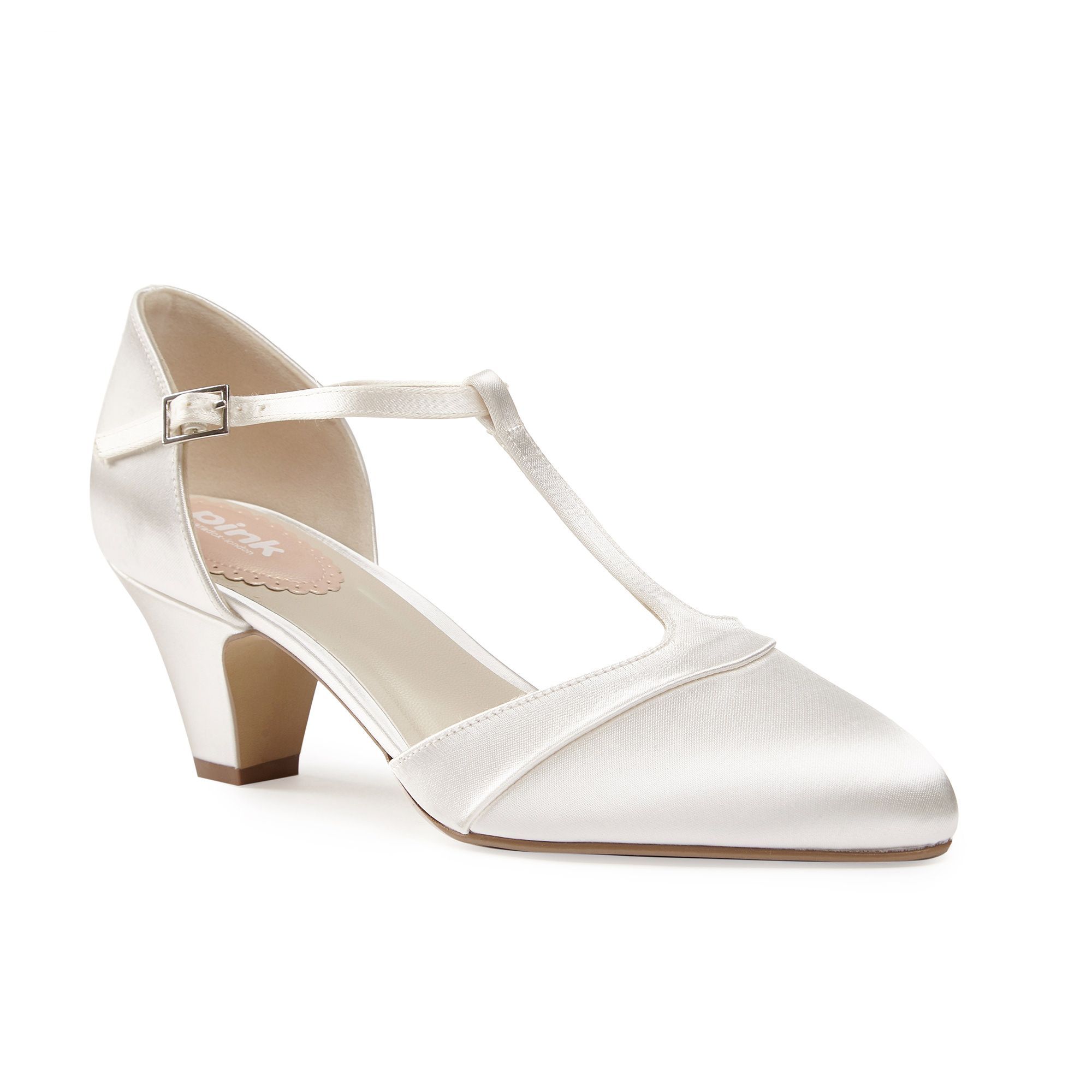 Paradox London Pink Kitten almond toe tbar court shoes Cream