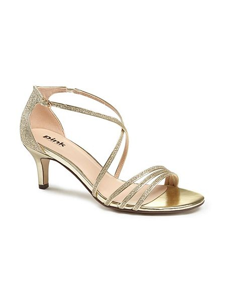 Paradox London Pink Isla strappy mid heel sandals Gold - House of ...