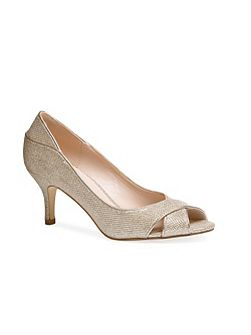 Adele glitter peep toe court shoes