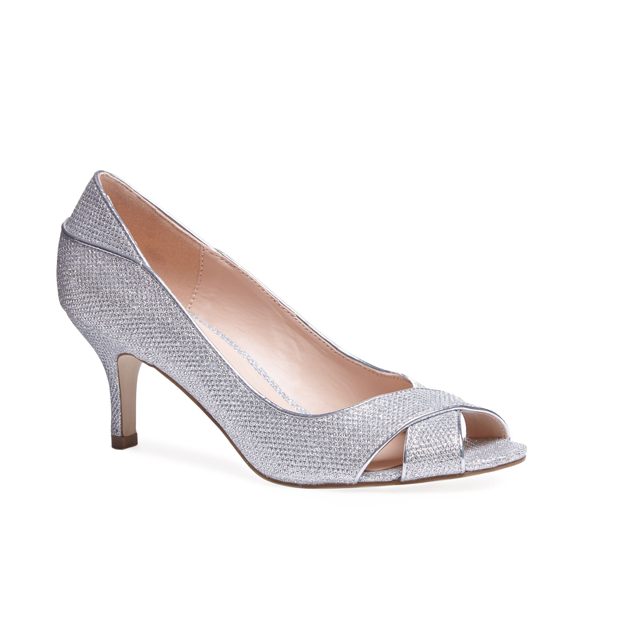 Paradox London Pink Paradox London Pink Adele glitter peep toe court shoes, Silver