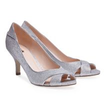 Paradox London Pink Adele glitter peep toe court shoes