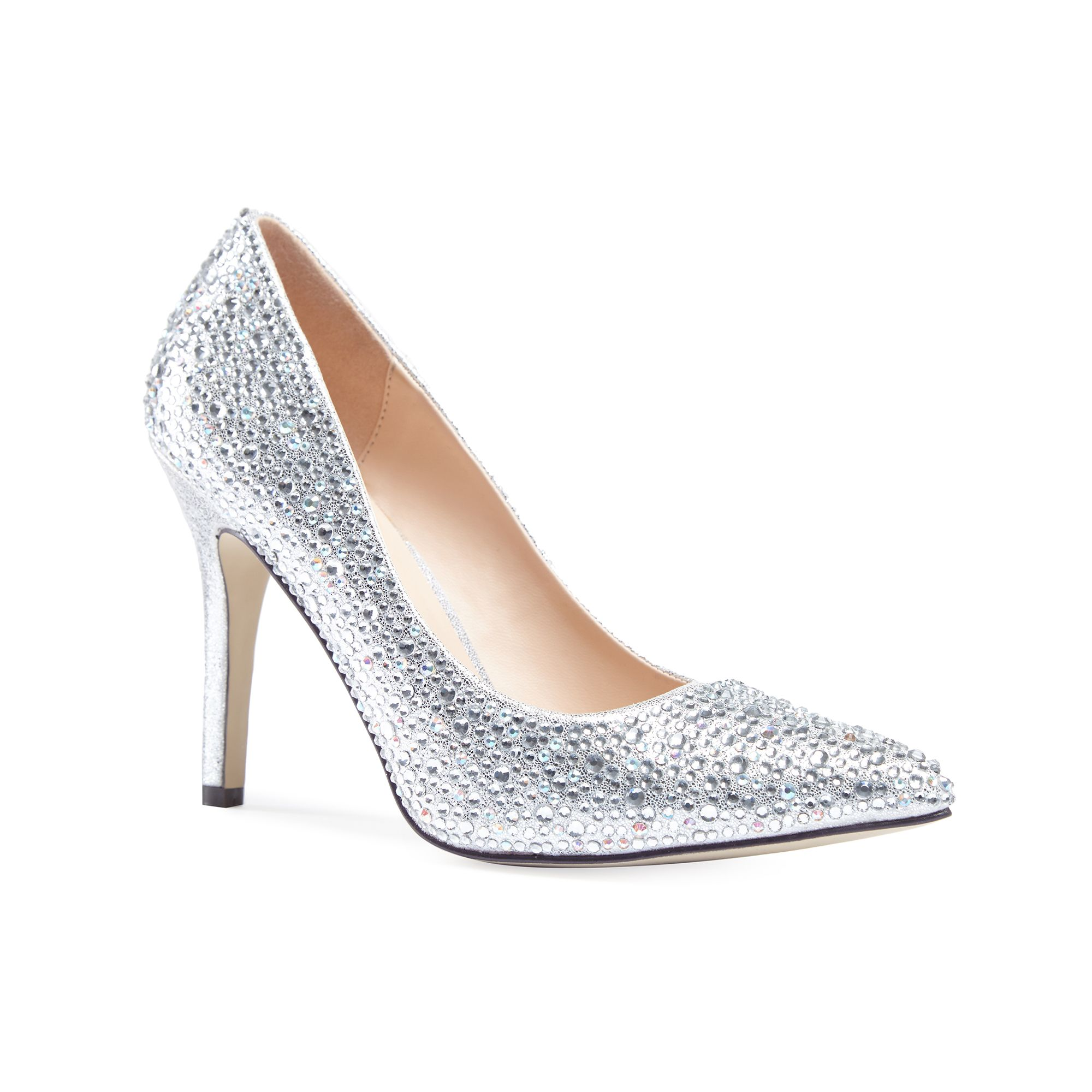 Paradox London Pink Paradox London Pink Aiesha crystal embellished court shoes, Silver