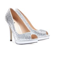 Paradox London Pink Cassidy crystal platform peep toe shoes