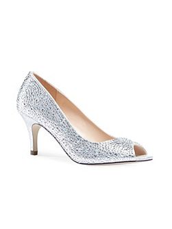 Chantal crystal peep toe court shoes