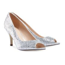 Paradox London Pink Chantal crystal peep toe court shoes