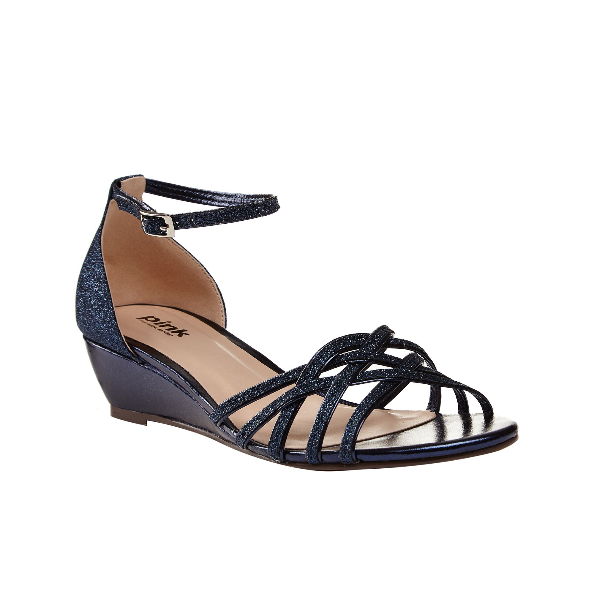 Paradox London Pink Paradox London Pink Avery strappy glitter wedge sandals, Navy