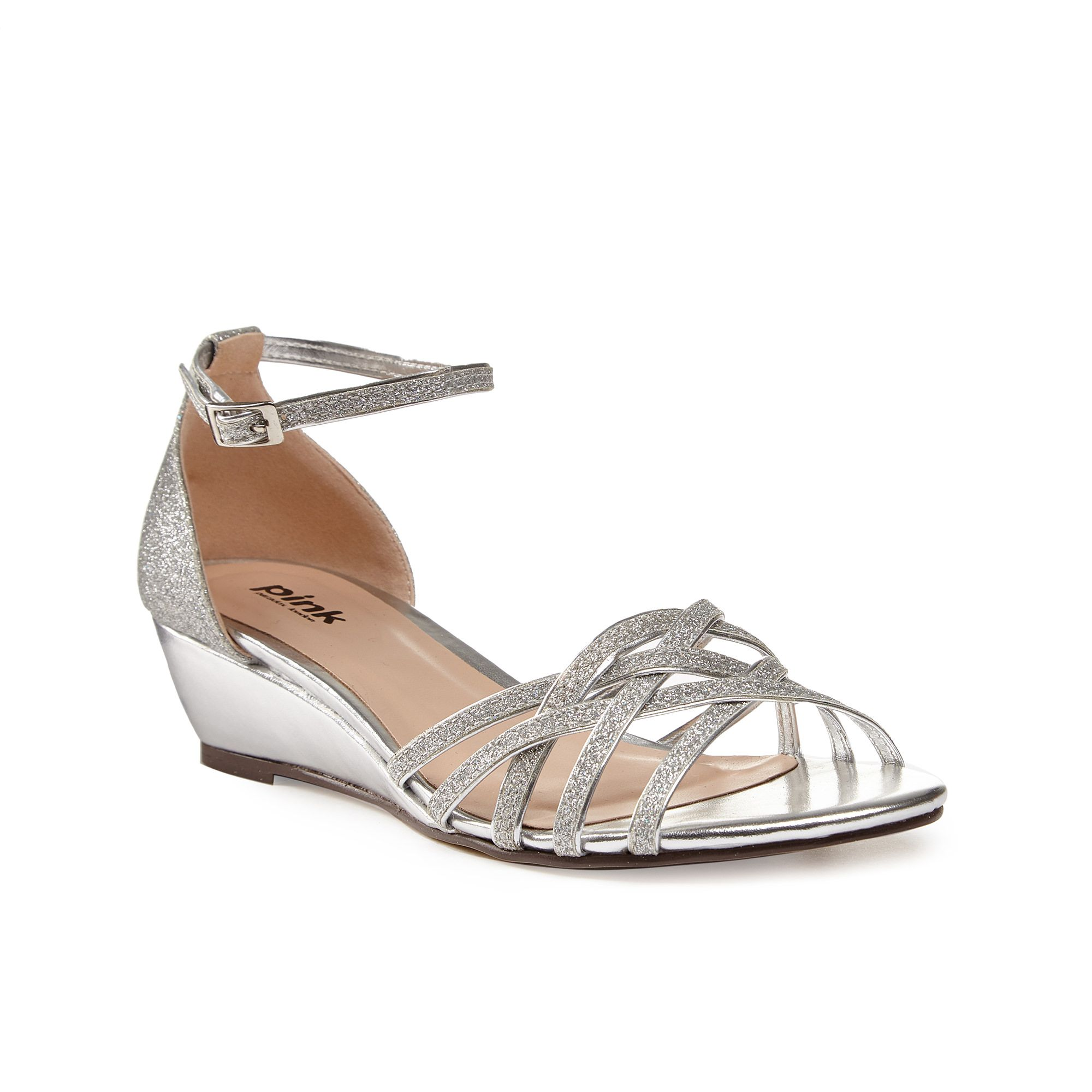 Paradox London Pink Paradox London Pink Avery strappy glitter wedge sandals, Silver