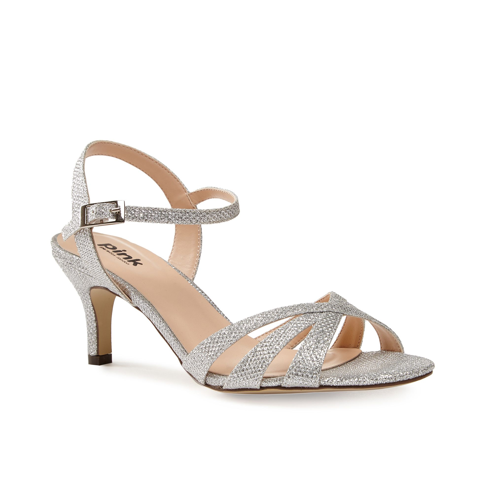 Paradox London Pink Paradox London Pink Shelby strappy glitter sandals, Silver