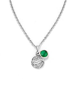 Emerald sterling silver pendant necklace