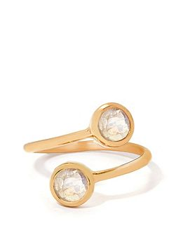 Rainbow moonstone gold vermeil ring