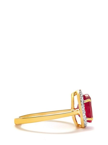 Gemporia Thai ruby & diamond gold vermeil ring