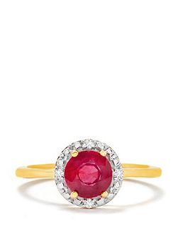 Thai ruby & diamond gold vermeil ring