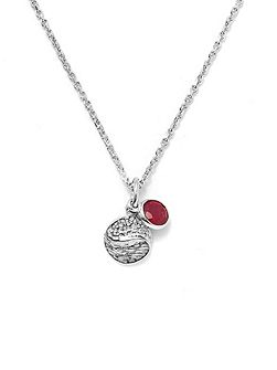 Ruby sterling silver pendant necklace