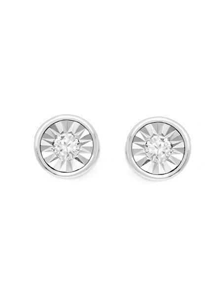 Gemporia Diamond sterling silver halo earrings