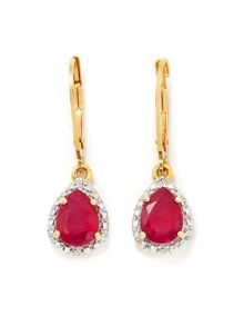 Thai ruby & diamond gold vermeil earring