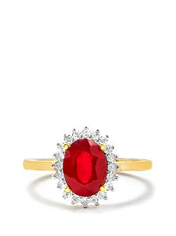 Ruby & white topaz gold vermeil ring