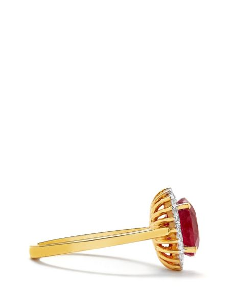 Gemporia Ruby & white topaz gold vermeil ring
