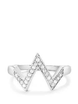 Diamond sterling silver ring