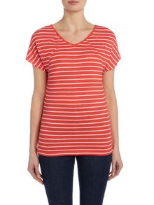 VIZ-A-VIZ Cap Sleeve Striped Top