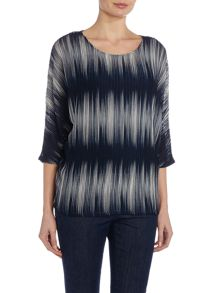 VIZ-A-VIZ Three Quarter Sleeve Jersey Striped Top