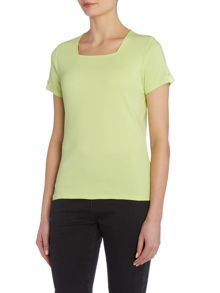 VIZ-A-VIZ Short Sleeve Square Neck Top
