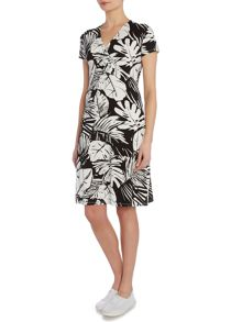 VIZ-A-VIZ Leaf Print Jersey Dress
