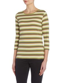 VIZ-A-VIZ Striped Boat Neck Top