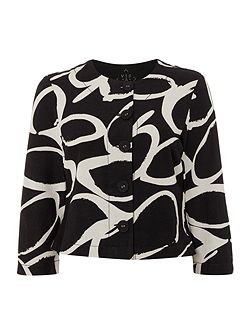 Printed Linen Cropped Jacket