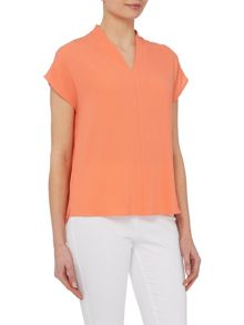 VIZ-A-VIZ Cap Sleeve V Neck Top