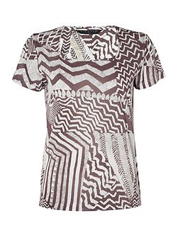 Short Sleeve Scoop Neck Print Top