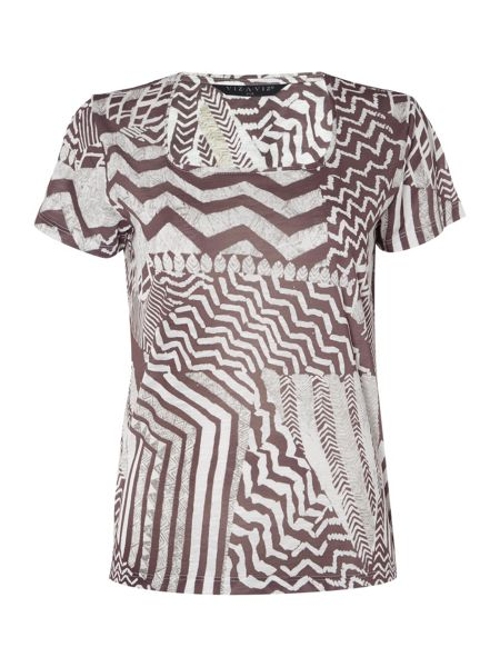 VIZ-A-VIZ Short Sleeve Scoop Neck Print Top