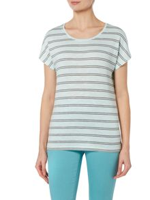 VIZ-A-VIZ Cap Sleeve Round Neck Top