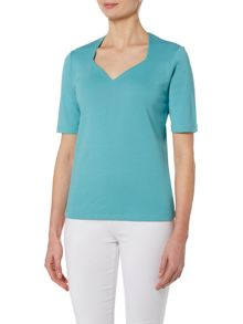 VIZ-A-VIZ Half Sleeve Sweetheart Neck Top