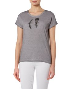 VIZ-A-VIZ Feather Placement Print Top