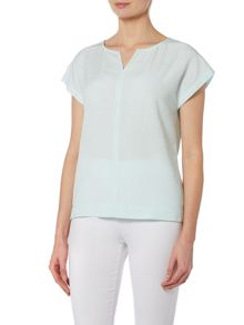 VIZ-A-VIZ Notch Neck Cap Sleeve Top