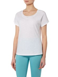 VIZ-A-VIZ Scoop Neck Cap Sleeve Top