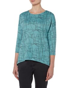 VIZ-A-VIZ Marble All Over Print Top
