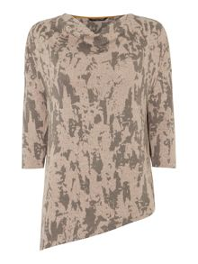 VIZ-A-VIZ Hi-Lo Abstract Print Top