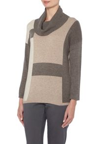 VIZ-A-VIZ Colour Block Jumper