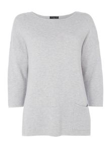 VIZ-A-VIZ Three Quarter Sleeve Crew Neck Top