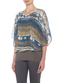 VIZ-A-VIZ All Over Print Layered Top