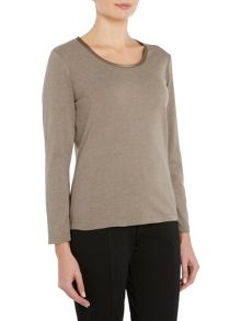 VIZ-A-VIZ Long Sleeve Scoop Neck Top